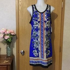 Sleeveless polyester dress in blues/Black/orange